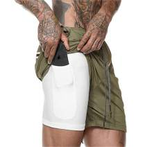 OEAK Men's 2 in 1 Running Shorts Workout Training Gym Quick Dry Bodybuliding Athletic Short Jogger with Pockets