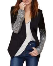 Auxo Women's Blazer Jacket Sparkle Sequin Button Long Sleeve Patchwork Suit Top Coat