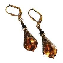 HisJewelsCreations Baroque Crystal Vintage Inspired Leverback Dangle Drop Earrings
