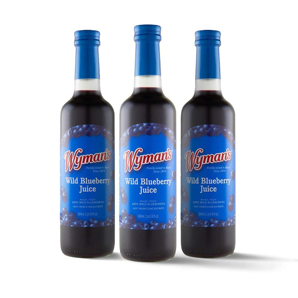 Wyman's Wild Blueberry Juice | 100% Juice, Not From Concentrate | Glass Bottled - 500mL (3 Pack)