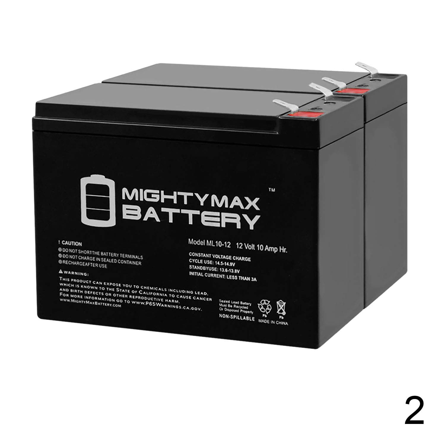 ML10-12 - 12 Volt 10 AH SLA Battery - Pack of 2 - Mighty Max Battery Brand Product