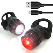 USB Rechargeable Bike Tail Lights, LED Super Bright Bicycle Rear Light Runs for 26 Hours, 3 Light Mode Fits All Mountain Bikes, Road Bicycle, Backpacks, Waterproof & Install in Seconds
