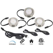 American Lighting MVP-3-NK Dimmable LED MVP 3-Puck Light Kit with Roll Switch and 6' Power Cord, 2700K Warm White, 4.3W, Nickel