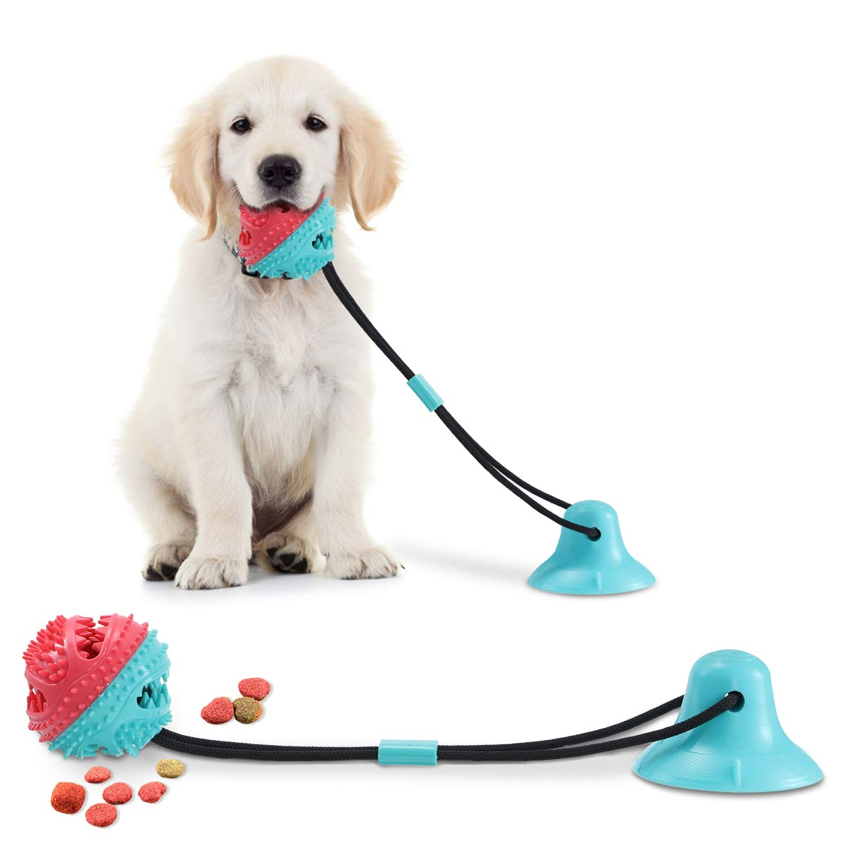 CAMTOA Dog Chew Toys for Aggressive Chewers, Suction Cup Dog Chewing Toy, Dog Rope Ball Toys with Suction Cup for Small Large Dogs, Puppy Dog Teeth Cleaning Interactive Pet Tug Toy for Boredom