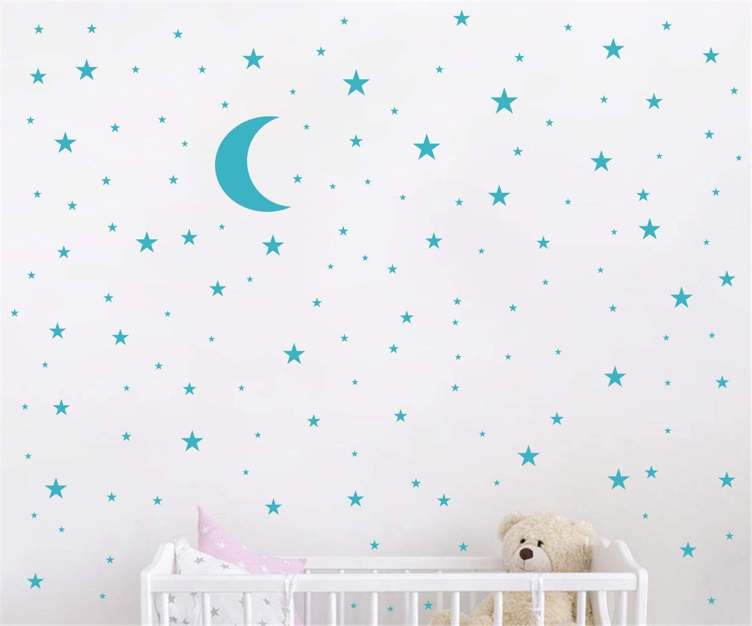 Moon and Stars Wall Decal Vinyl Sticker for Kids Boy Girls Baby Room Decoration Good Night Nursery Wall Decor Home House Bedroom Design YMX16 (Teal)