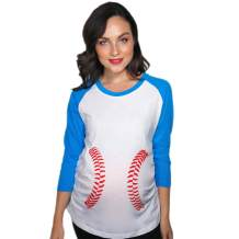 Maternity Raglan Baseball Laces Cute Funny Pregnancy 3/4 Length Sleeve Tee