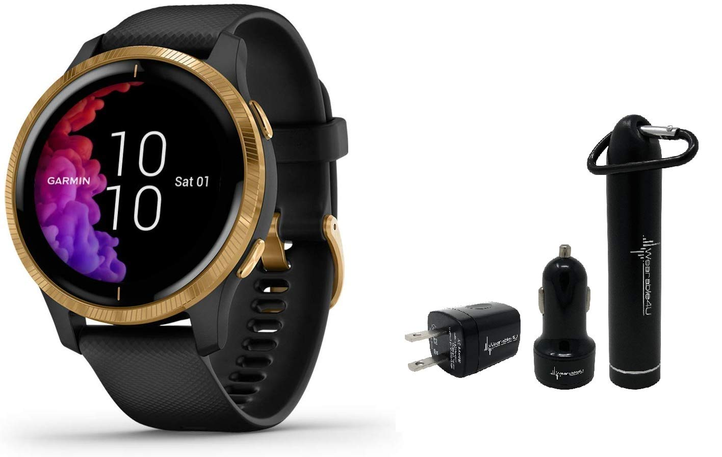 Garmin Venu GPS Smartwatch with AMOLED Display and Wearable4U Power Pack Bundle (Black/Gold)