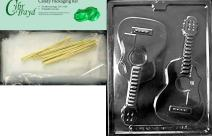 Cybrtrayd Guitar for Specialty Box Jobs Chocolate Candy Mold with Packaging Bundle of 25 Cello Bags, 25 Gold Twist Ties and Chocolate Molding Instructions