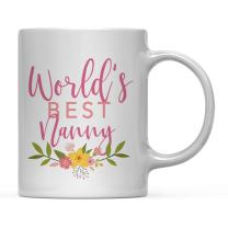 Andaz Press 11oz. Coffee Mug Gag Gift, World's Best Nanny, Floral Flowers Design, 1-Pack, Birthday Christmas Gift Ideas for Her