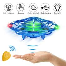 Hand Operated Drone for Kids or Adults, Toys for 4-5 Year Old Boys, Latest Mini Drone Helicopter with 4 Sensors, Flying Ball Toys for 6, 8, 10, 11 Year Old Boys or Girls (Blue, with Remote)