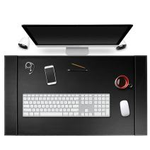 """SumacLife Executive Modern Large Matte Onyx Black PU Leather Laptop Mat/Desk Pad 34"""" x 20"""" with Lifting Side Rails for Blotter Paper"""