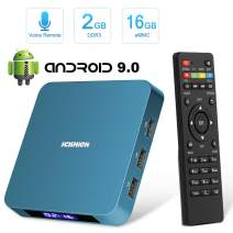 Android 9.0 TV Box, HAOSIHD AI ONE Android TV Box with 2GB RAM 16GB ROM RK3328 Quad-core, Support 4K Full HD 2.4 GHz WiFi BT 4.0 Smart TV Box