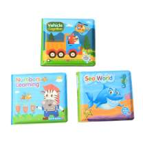 KAKIBLIN Baby Activity Book, Infant Book for Bath, Waterproof Book for Baby, Perfect Shower Toys for Babies, Toddlers, Early Learning Educational Toy, 3 Pcs
