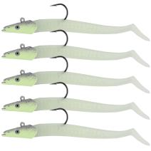 """Goture 4"""" Minnow Fishing Bait Big Tail with Jig Head Fresh Water Swimbaits (5 Rigged Lure)"""