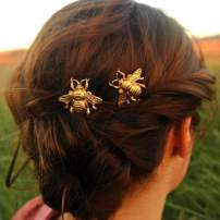 Kakaco Bridal Bee Bobby Pins Gold Hair Clips Barrettes Honeybee Hair Pin Fashion Hair Accessories for Women and Girls (Pack of 2)