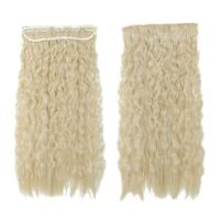 S-noilite 22 Inches 3/4 Full Hea Long Corn Wave Clip in Hair Extensions One Piece Hairpiece Kanekalon Synthetic Fiber for Women Lady Girl Bleach Blonde