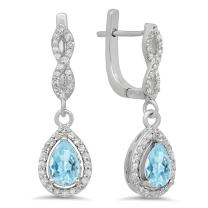 Dazzlingrock Collection 14K Each 7X5 MM Pear Gemstone & Round White Diamond Ladies Halo Teardrop Dangling Drop Earrings, White Gold