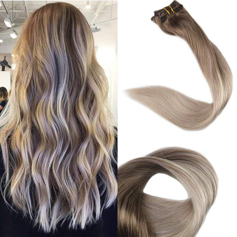 Full Shine 20 Inch Clip in Real Hair Extensions Pastel Color 100 Real Human Hair Clip in Extensions Color 8 Fading to 60 and 18 120 Gram 10 Pcs Full Head Set Clip Hair Extensions