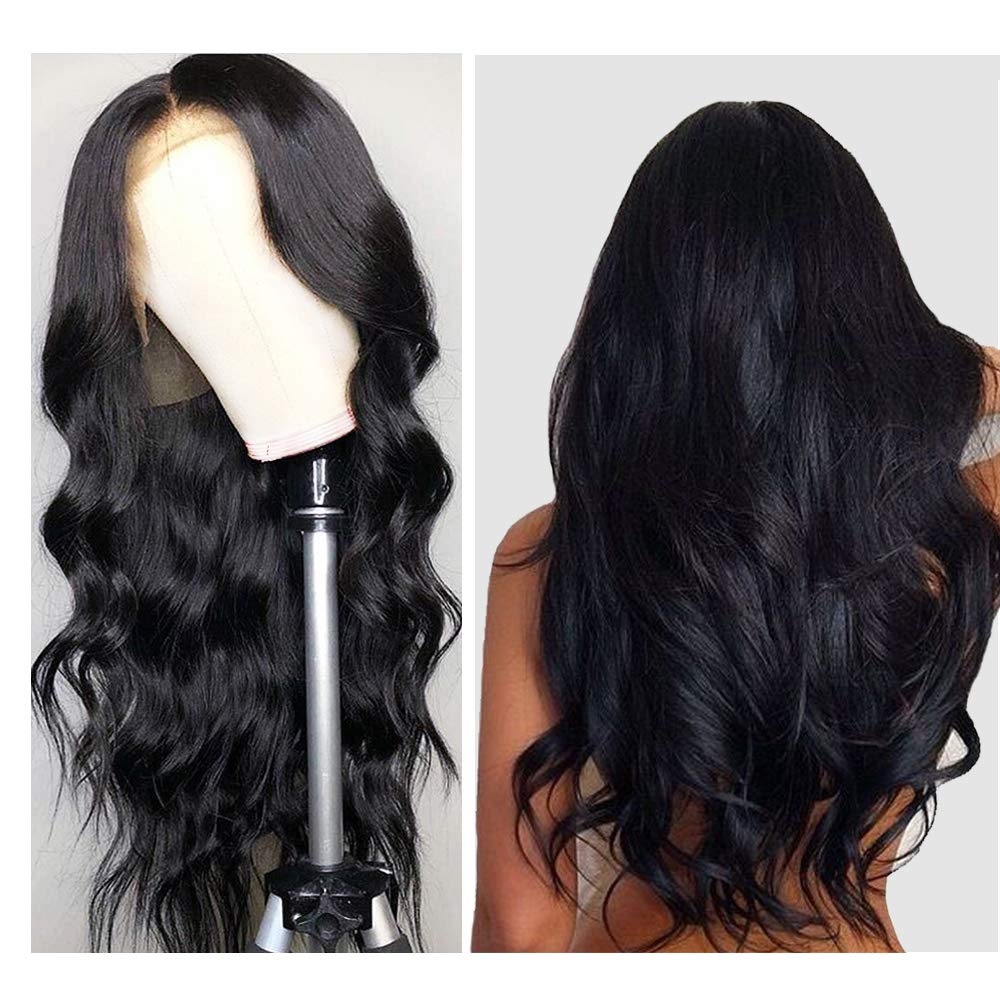 "Body Wave Human Hair Wig, VIPbeauty 150% Density Virgin Brazilian Body Wave Human Hair Lace Front Wigs for Black Women Glueless Wavy Lace Frontal Wig Pre Plucked with Baby Hair(24"", Nature Color)"