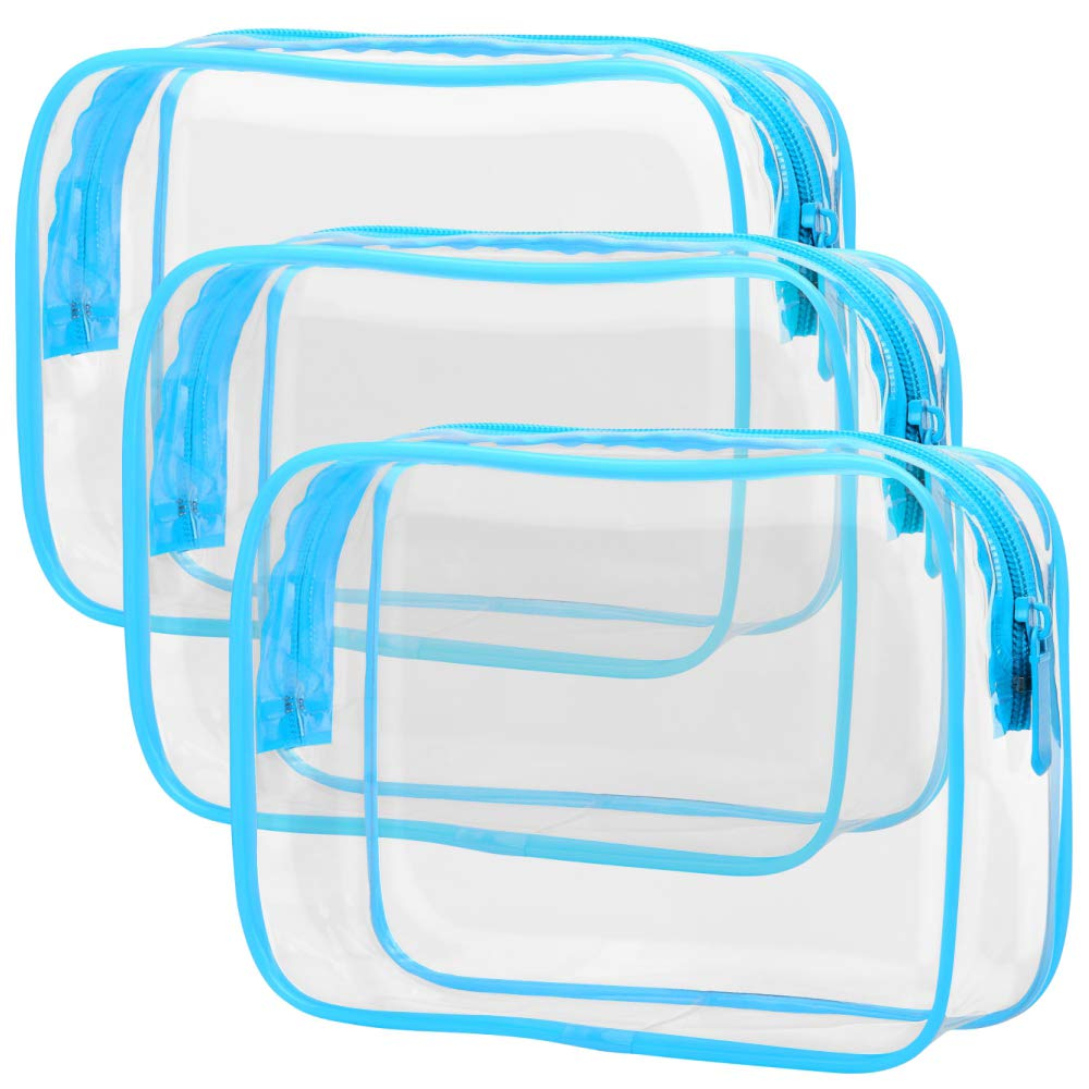 Clear Makeup Bag, Packism Waterproof TSA Approved Toiletry Bag Quart Size Bag, Clear Makeup Bags with Zipper Travel Cosmetic Bag, Carry on Airport Airline Compliant Bag, 3 Pack, Blue