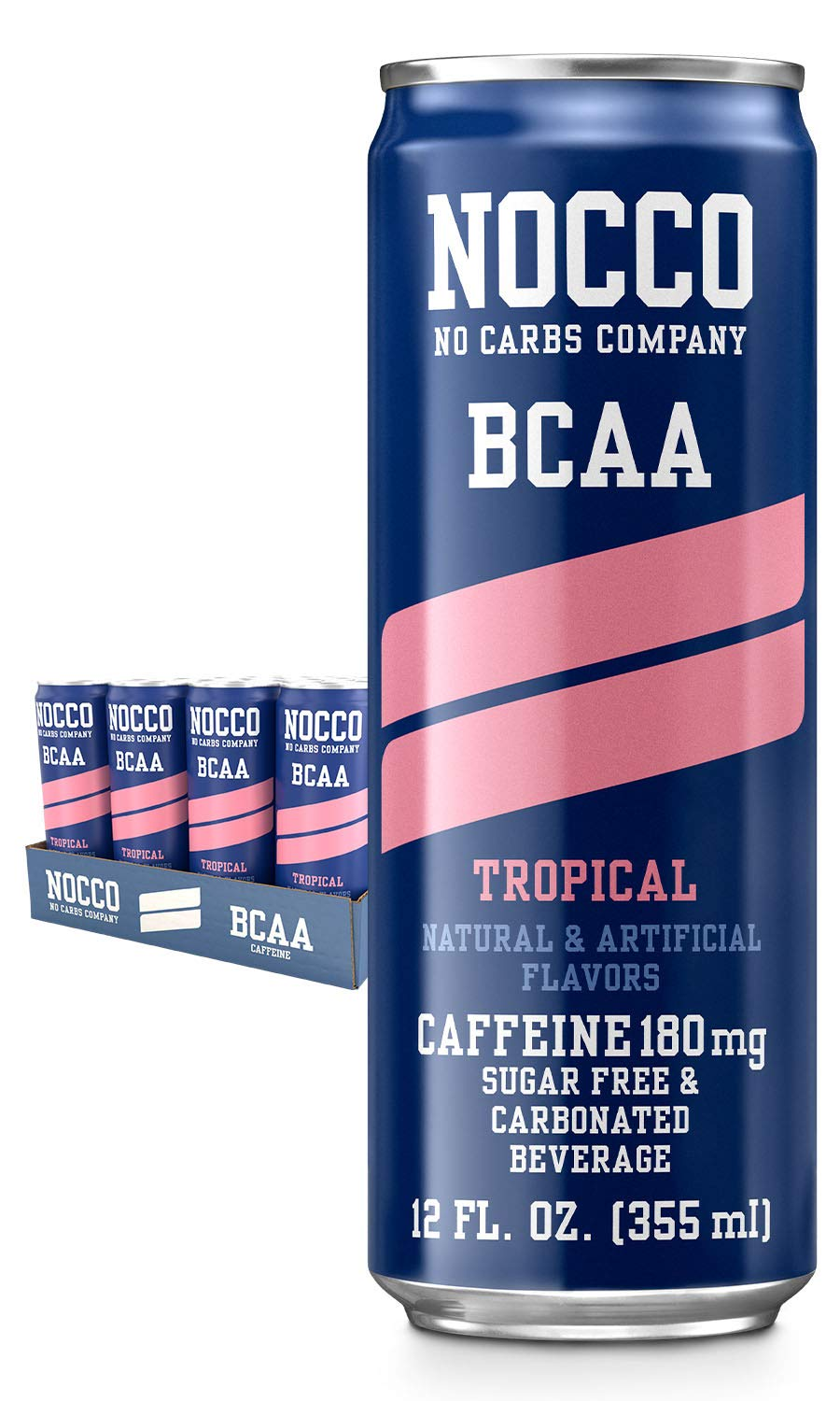 NOCCO BCAA Tropical 24 x 12 Fl Oz Carbonated, ZERO Sugar, Low Calorie, Ready to drink BCAA energy drink from fitness oriented No Carbs Company, Vitamin and Caffeine Flavored Carbonated Drinks