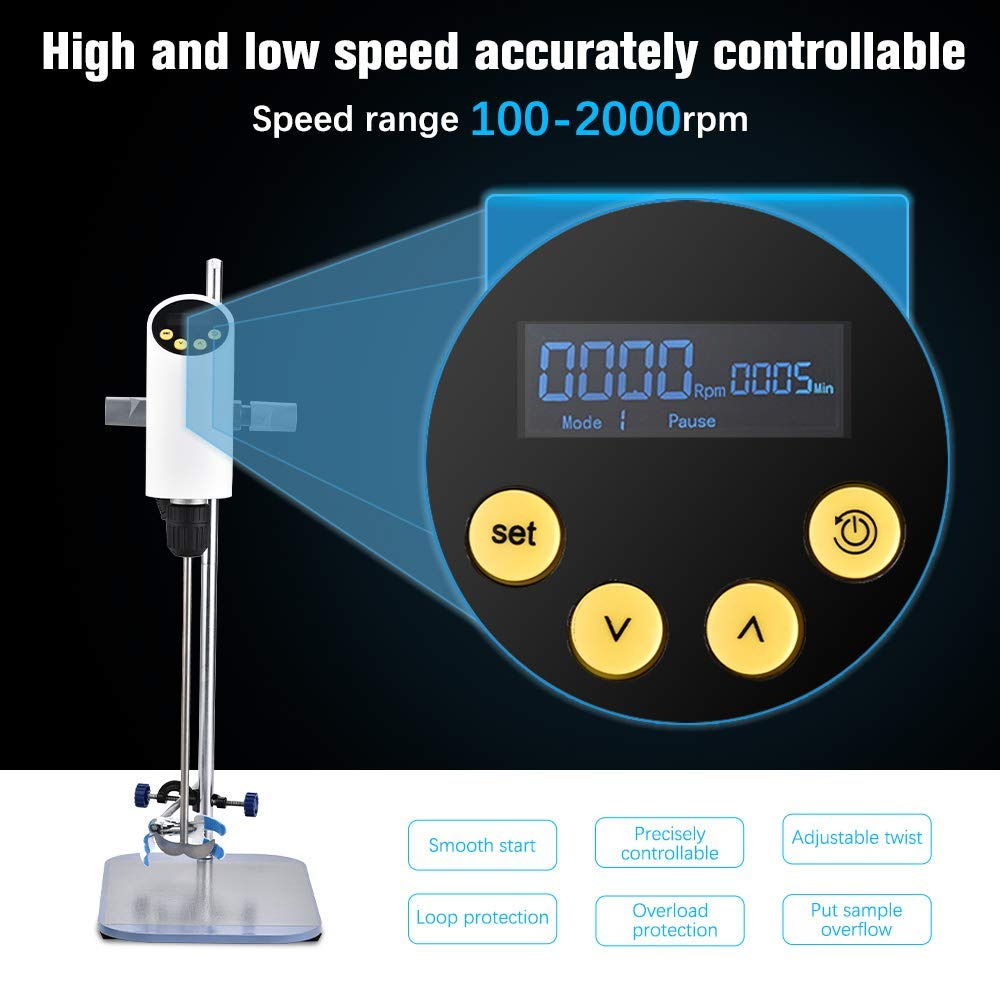 Lab Mixer, 40L 50000mpas Digital Lab Overhead Stirrer Lab Liquid Mixer with Overload Protection Height-Adjustable Feature for Lab Mechanical Mixer (Digital Touch)