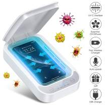 Phone Cleaner UV Light Box, Tesoky 3 in 1 Portable Smart Phone Screen Cleaner Wireless Charger with Aromatherapy Function for iOS Android Mobile Phone Toothbrush Jewelry Watch (White)