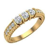 Three stone ring diamond vintage rings for women Past Present Future Anniversary Style 1/2 ct tw 14K Gold (G, I1)