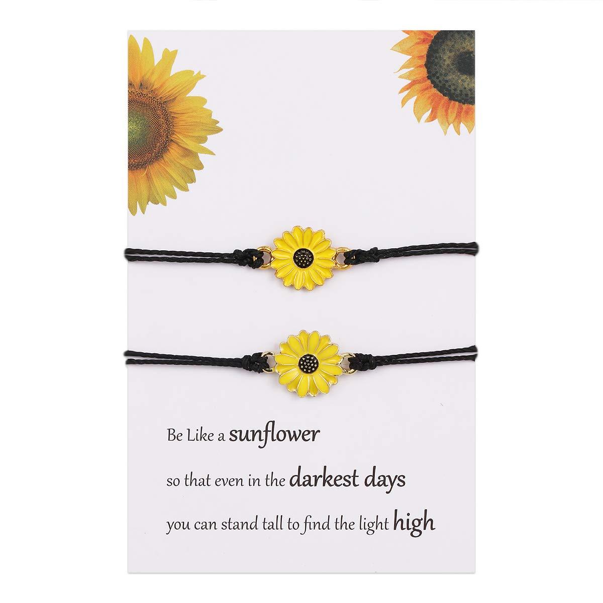choice of all Pinky Promise Bracelets for Couple Distanc Bracelet for Women BFF Bracelet for 2 Sunflower Bracelet Gift
