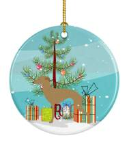 Caroline's Treasures BB2932CO1 Italian Greyhound Merry Christmas Tree Ceramic Ornament, 3 in, Multicolor