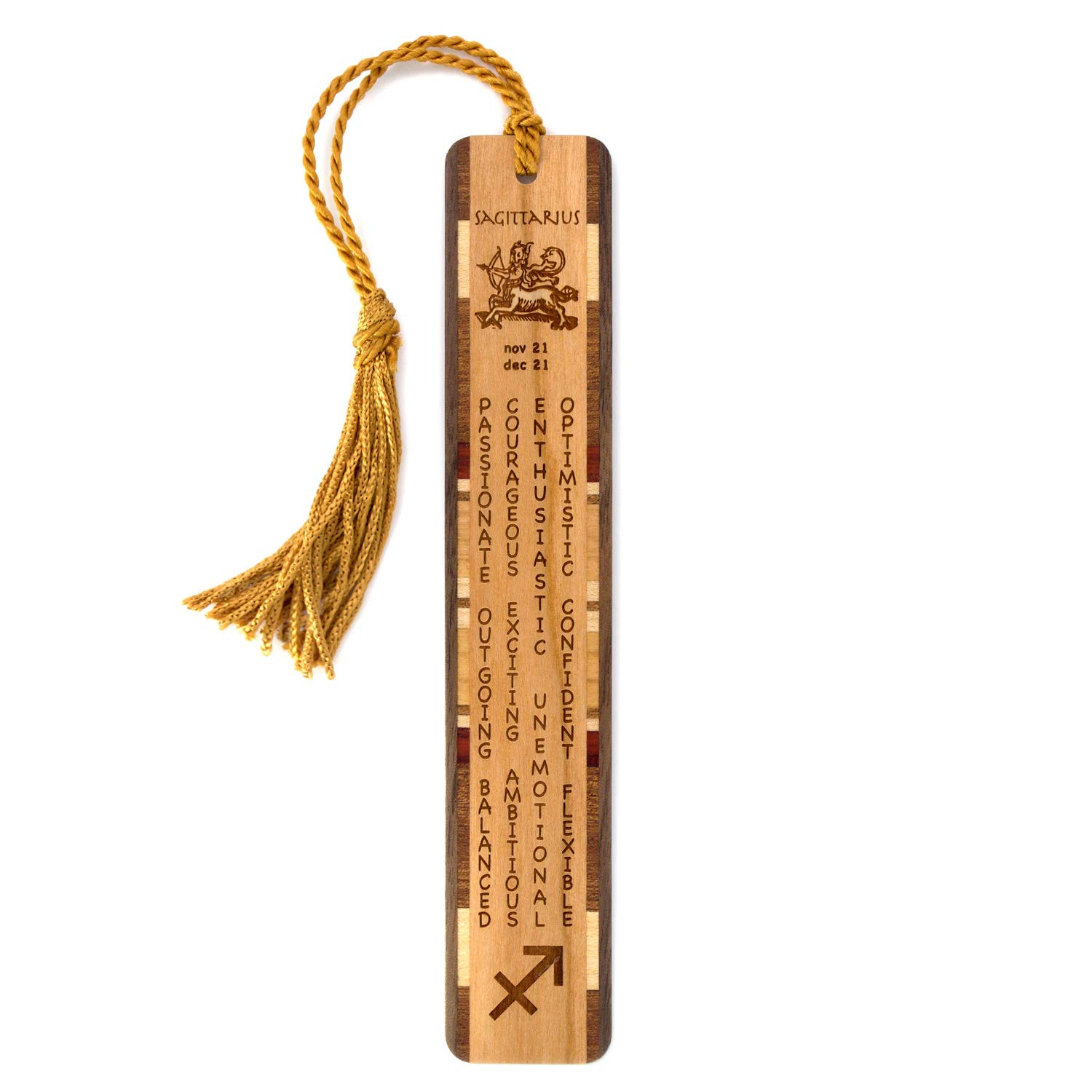 Sagittarius Zodiac Sign Artwork and Positive Personality Traits Engraved Wooden Bookmark with Tassel - Also Available Personalized