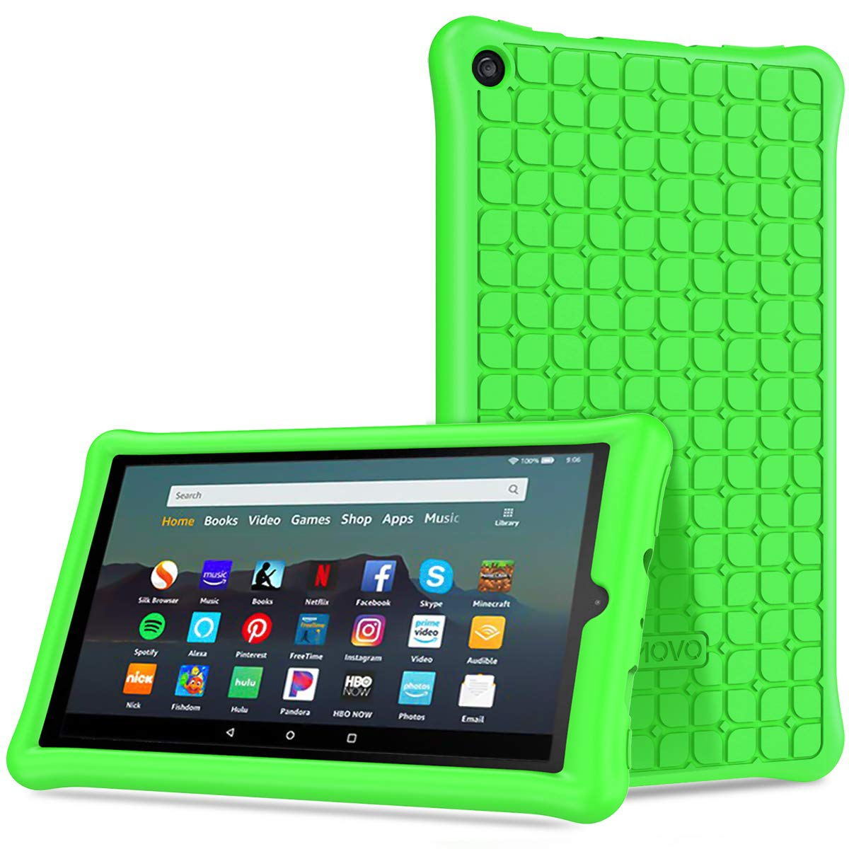 TiMOVO Case Fits All-New Fire 7 Tablet (9th Generation, 2019 Release) - Anti Slip Shock Proof Soft Silicone Shell Cover Kids Protective Case Fit Amazon Fire 7 Tablet - Green