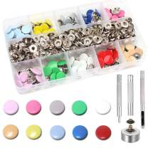 Arokimi Snap Fastener Kit, 10 Color Clothing Snaps Kit for Thin Leather, Jacket, Jeans Wear, Bracelet, Bags with 4 Pieces Fixing Tools