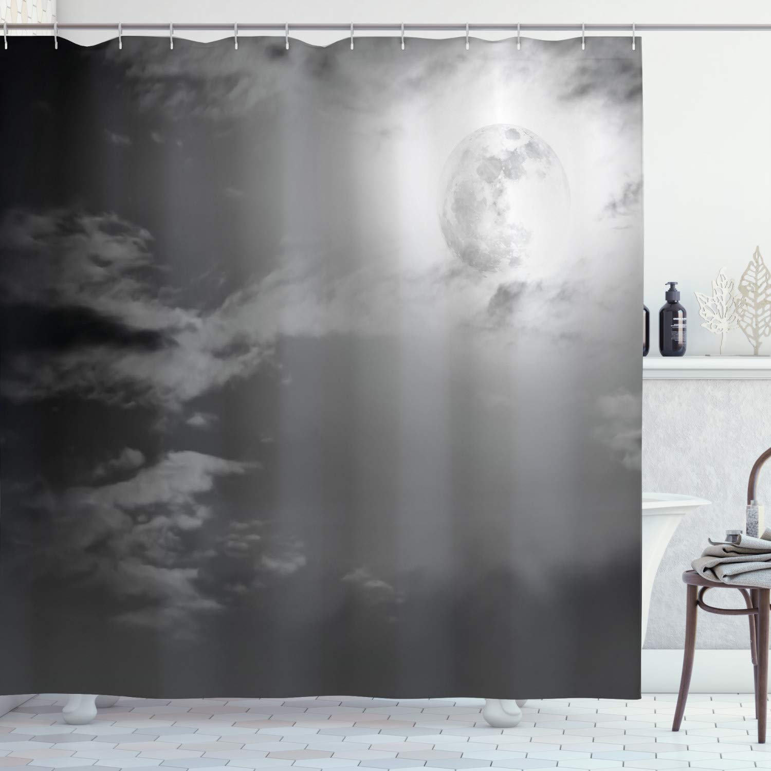 """Ambesonne Night Sky Shower Curtain, Full Moon and Clouds Midnight View Vintage Black and White Style Dramatic Scene, Cloth Fabric Bathroom Decor Set with Hooks, 75"""" Long, White Black"""
