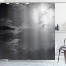 """Ambesonne Night Sky Shower Curtain, Full Moon and Clouds Midnight View Vintage Black and White Style Dramatic Scene, Cloth Fabric Bathroom Decor Set with Hooks, 84"""" Long Extra, White Black"""