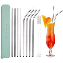 GANAMODA Stainless Steel Straw Ultra Long 10.5 Inch, 6mm Diameter, Drinking Straws for 30oz/20oz Tumblers Yeti Ramblers Cold Beverage, Cleaning Brushes Included(4 Straight 4 Bent 2 Brushes) Green