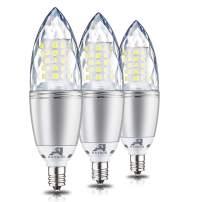 Rayhoo E12 Base LED Candelabra Light Bulbs Dimmable, 10 Watts Incandescent 80-100W Bulb Equivalent, Cool White 6000K, 3 Pack