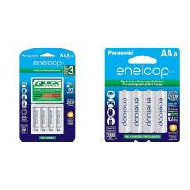 Panasonic Advanced Individual Battery 3 Hour Quick Charger with 4 AAA eneloop Rechargeable Batteries, White & BK-3MCCA8BA eneloop AA 2100 Cycle Ni-MH Pre-Charged Rechargeable Batteries, 8 Pack