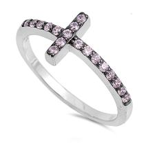 CloseoutWarehouse Cubic Zirconia Christian Sideway Cross Ring Sterling Silver (Color Options, Sizes 3-15)