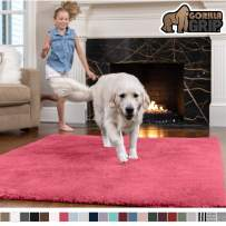 GORILLA GRIP Original Faux-Chinchilla Area Rug, 3x5 Feet, Super Soft and Cozy High Pile Washable Carpet, Modern Rugs for Floor, Luxury Shag Carpets for Home, Nursery, Bed and Living Room, Hot Pink