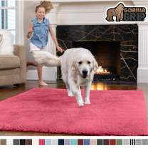 GORILLA GRIP Original Faux-Chinchilla Area Rug, 4x6 Feet, Super Soft and Cozy High Pile Washable Carpet, Modern Rugs for Floor, Luxury Shag Carpets for Home, Nursery, Bed and Living Room, Hot Pink