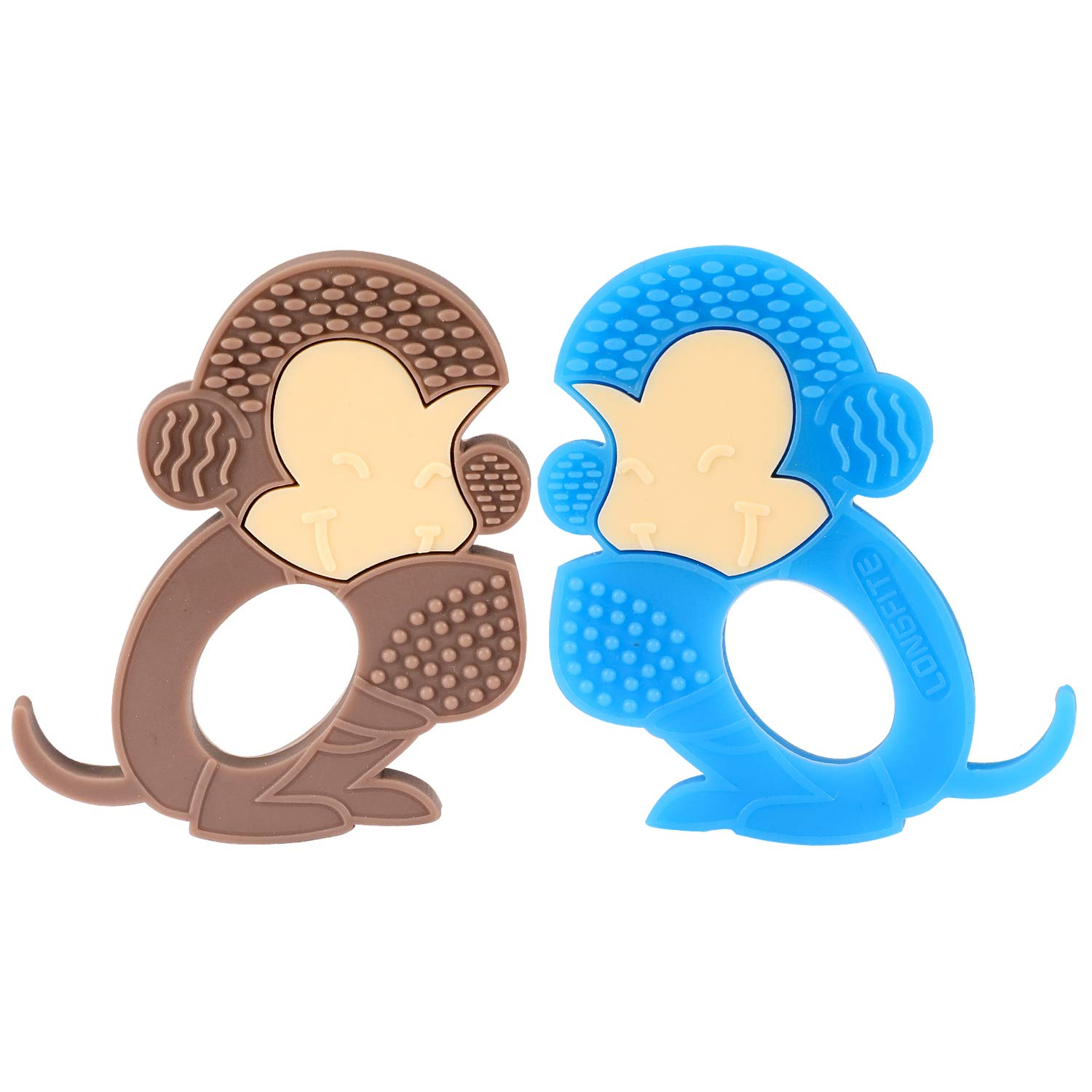 Longfite Baby Teething Toys and Soothing Teether Soft Silicone Monkey Infant Teething Set, Pack of 2