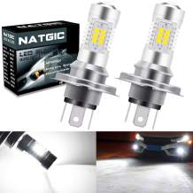 NATGIC H4 LED Bulbs 21-EX 2835 SMD Chipsets with Lens Projector for Fog Lights, Daytime Running Lights, Automotive Driving Lamps, DC 10-16V, 10.5W, Xenon White (Pack of 2)