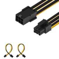 J&D [2-Pack] 6 Pin PCIe M/F Power Extension Cable, Male to Female Cable – 10 inch, Black