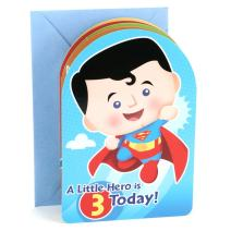 Hallmark 3rd Birthday Greeting Card for Boy (Superman, Batman, Iron Man, Green Lantern)