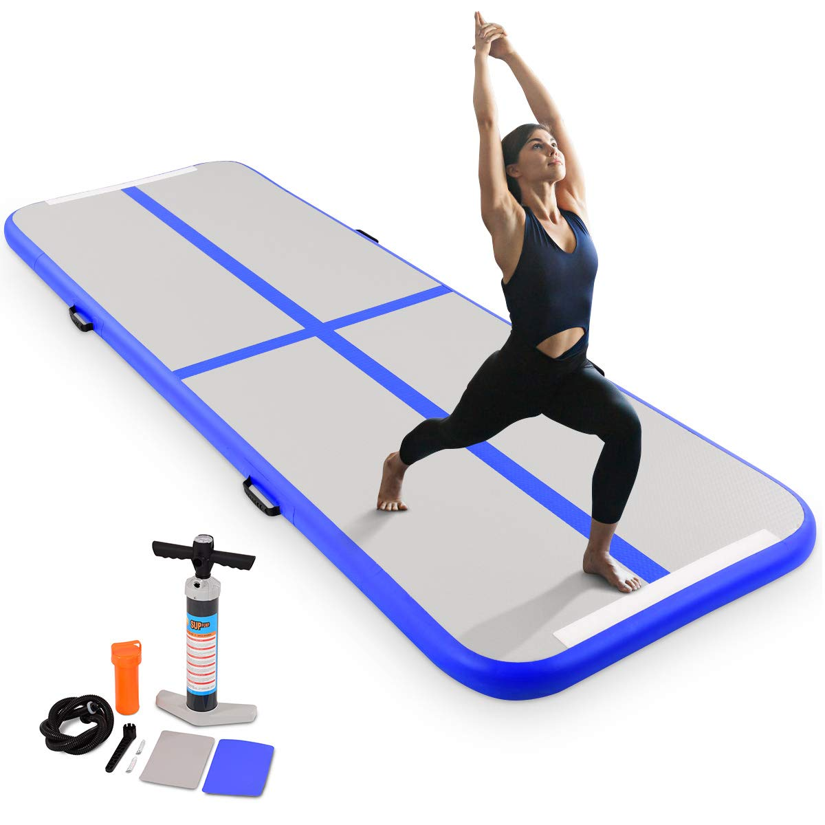 Goplus 10FT Inflatable Gymnastic Air Track, Portable Tumbling Mat, with Pump, for Cheerleading Practice Beach Park Home use