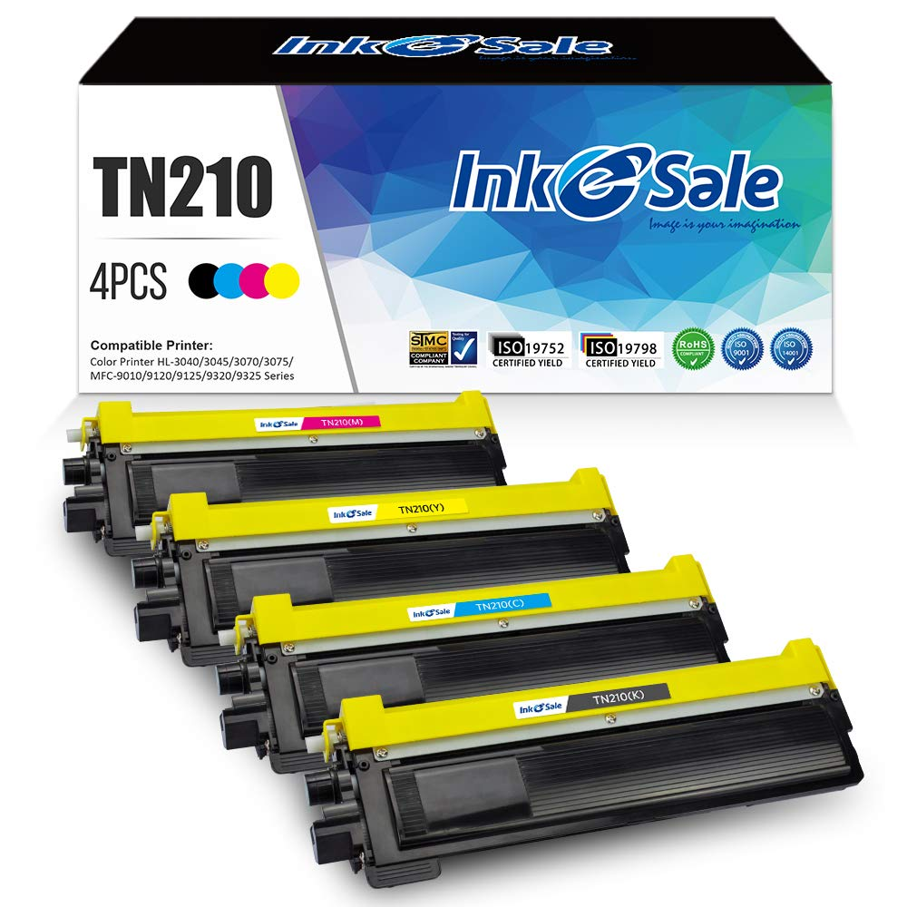 Ink E-Sale Compatible Toner Cartridge Replacement for Brother TN210 (KCMY, 4-Pack), for use with Brother HL-3040CN HL-3045CN HL-3070CW HL-3075CW MFC-9010CN MFC-9120CN MFC-9125CN MFC-9320CW Printer