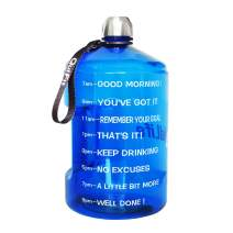 QuiFit Motivational Gallon Water Bottle - with Time Marker & Handle 128/73/43 oz BPA Free Reusable Sports Water Jug Helps You Drink More Water