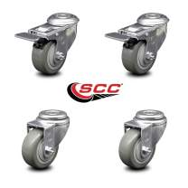 "Polyurethane Swivel Bolt Hole Caster Set of 4 w/3"" x 1.25"" Gray Wheels - Includes 2 with Total Locking Brakes - 1000 lbs Total Capacity - Service Caster Brand"