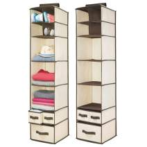mDesign Soft Fabric Over Closet Rod Hanging Storage Organizer with 7 Shelves and 3 Removable Drawers for Clothes, Leggings, Lingerie, T Shirts - 2 Pack - Cream/Espresso Brown